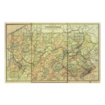 1895 Antique Rail Map of Pennsylvania