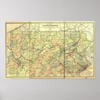 1895 Antique Rail Map of Pennsylvania Poster