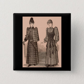 1895 Delineator print ladies coat and dress 15 Cm Square Badge