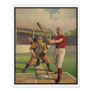 1895 OLD ANTIQUE BASEBALL POSTER