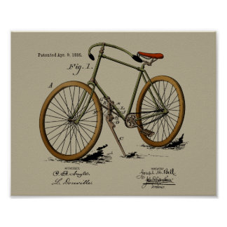 1895 Vintage Bicycle Patent Color Art Print