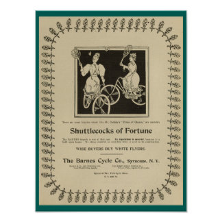 1896 Vintage Barnes Cycle Bicycles Ad Art Poster