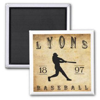 1897 Lyons New York Baseball Square Magnet
