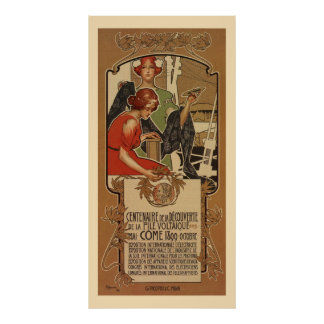1898 Italian Style Art Nouveau Centenary A. Volta Poster