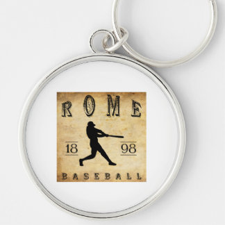 1898 Rome New York Baseball Silver-Colored Round Key Ring