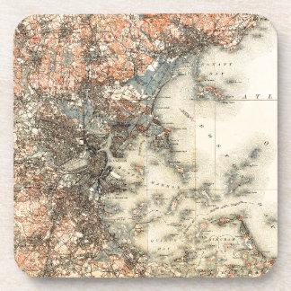 1898 Topographical Map of Boston Massachusetts Coaster