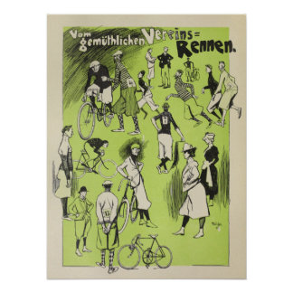 1898 Vintage Bicycle Club Races Ad Art Poster