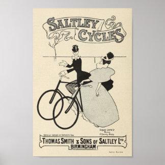 1898 Vintage Bicycle Saltley Cycles Ad Art Poster