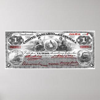 1899 Comite Bancario de Guatemala 1 Peso Poster