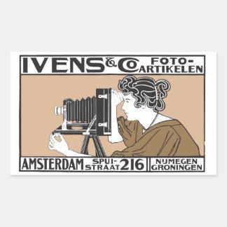 1899 retro photo service poster rectangular sticker