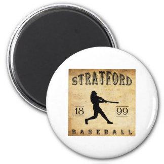 1899 Stratford Ontario Canada Baseball 6 Cm Round Magnet