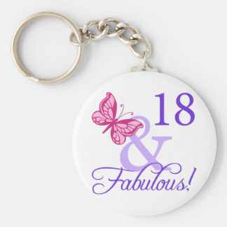 18 And Fabulous Birthday Basic Round Button Key Ring