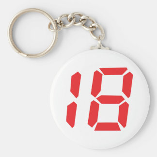 18 eighteen red alarm clock digital number basic round button key ring