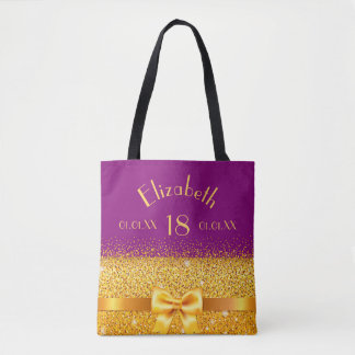 18 years old violet with gold bow sparkle tote bag