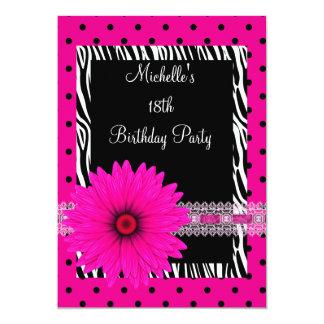 18th Birthday Black White Zebra Pink Spot Flower 13 Cm X 18 Cm Invitation Card