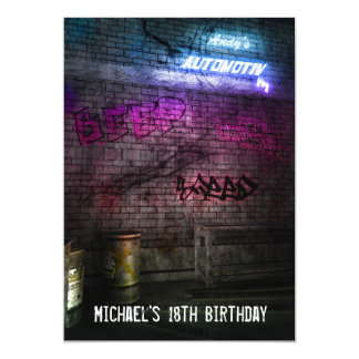 18th Birthday Boys Mens Urban Street Art Grunge 13 Cm X 18 Cm Invitation Card