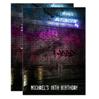 18th Birthday Boys Mens Urban Street Art Grunge Card