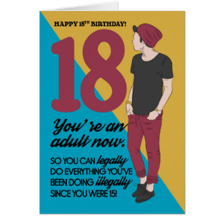 18th Birthday Card, Fun And Trendy, Humor Card