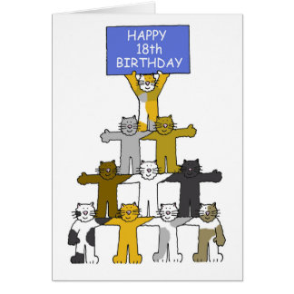 18th birthday celebrated by cats. card