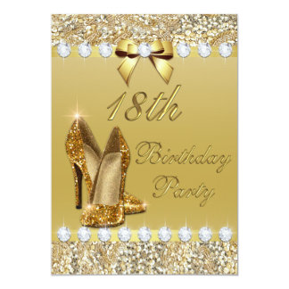 18th Birthday Classy Gold Heels Sequins Diamonds Card