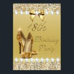 18th Birthday Classy Gold Heels Sequins Diamonds Invitationbrdiv Class