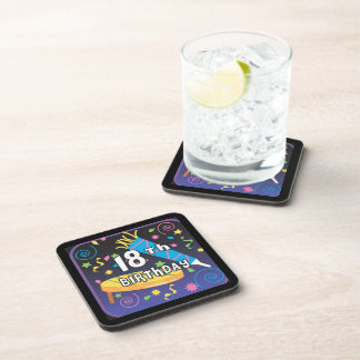 18th Birthday Favors Drink Coasters