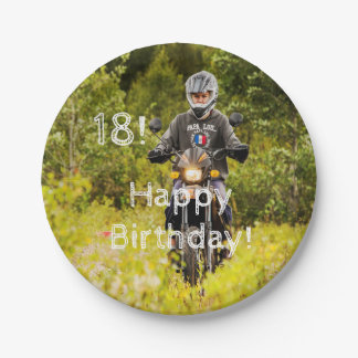 18th birthday for a boy with your photo 7 inch paper plate