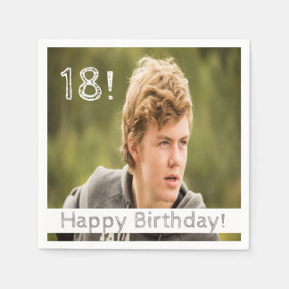 18th birthday for boy with your photo disposable napkin