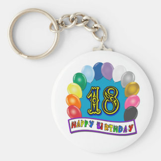 18th Birthday Gifts with Assorted Balloons Design Basic Round Button Key Ring