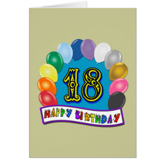 18th Birthday Gifts with Assorted Balloons Design Card