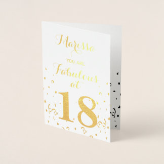 18th Birthday Gold Foil You are Fabulous at 18 Foil Card