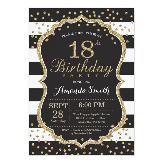 18th Birthday Invitation Black And Gold Glitter