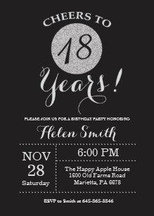 18th birthday invitations announcements zazzle au 18th birthday invitation black and silver glitter filmwisefo