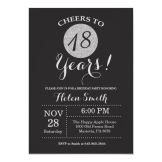 18th Birthday Invitation Black and Silver Glitter