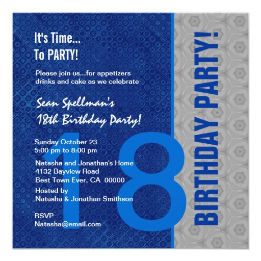 18th Birthday Modern Blue and Silver S306 Personalized Invitations