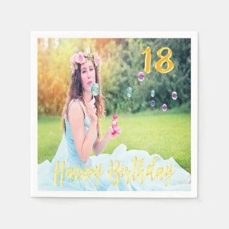 18th birthday party custom photo faux gold script paper napkins