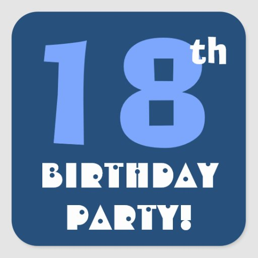 18th Birthday Party Envelope Seal Square Stickers