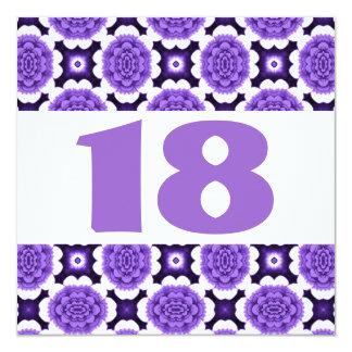 18th Birthday Party Festive Purple Flowers W934 Card