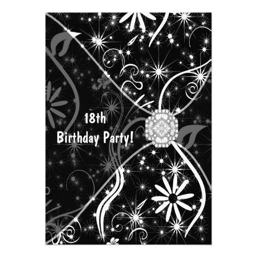18th Birthday Party Invitation Black Jewel 18th
