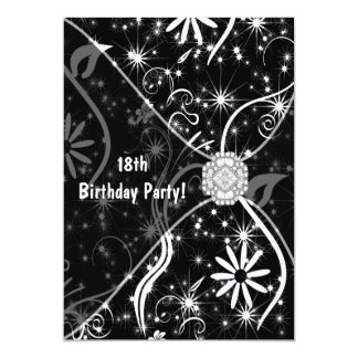 18th Birthday Party Invitation Black Jewel 18th