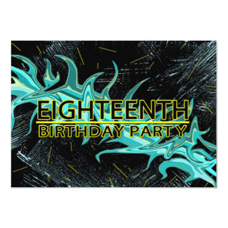 18TH BIRTHDAY PARTY INVITATION - BLUE/BLACK/YELLOW