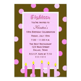 18th Birthday Party Invitation -- Pink Polka Dots