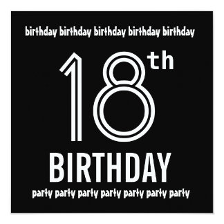 18th Birthday Party Invite Black White Template