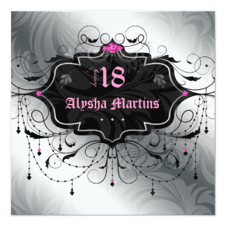 18th Birthday Party Jewel Chandelier Frame Silver Card