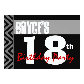 18th Birthday Party Modern Black Gray Red V01 Card