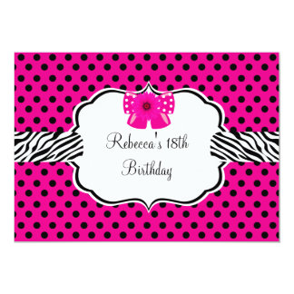 18th Birthday Party Pink Spot Zebra Pink Flower Card