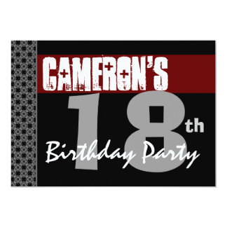 18th Birthday Party Red Black and White For Him 13 Cm X 18 Cm Invitation Card