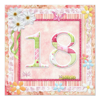 18th birthday party scrapbooking style 13 cm x 13 cm square invitation card