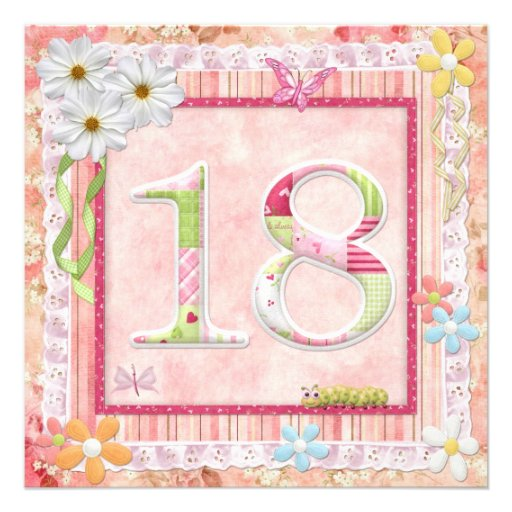 18th birthday party scrapbooking style personalized invites