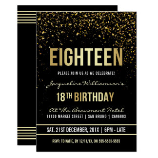 18th Birthday Party | Shimmering Gold Confetti Card